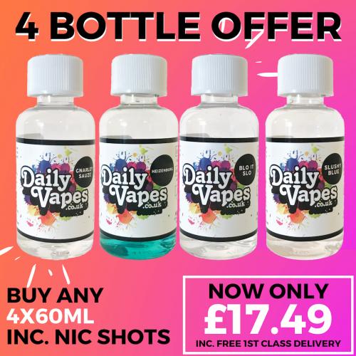 ... DealsDaily Vapes. -56% DAILYVAPES – 4 Bottle Bundle inc. Nic Shots ONLY £17.49 Delivered