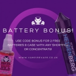 2 FREE BATTERIES WITH ANY SHORTFILL OR CONCENTRATE @ VAMPIRE VAPE