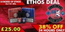 Ethos E-Liquid – 10 boxes of 3x10ml (300ml) – £25 at Flawless Vape Shop