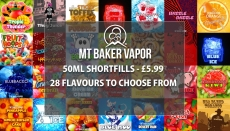 Mt Baker Vapor – 50ML Shortfills £5.99 Each – 28 Flavours to choose from