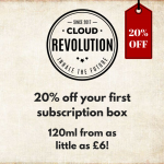 20% discount on first subscription box at Cloud Revolution