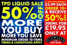 Flawless Vape Shop TPD Clearance – Mix n Match 10 boxes, get 50% off – 300ml for £29.95