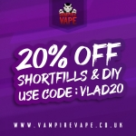 20% off SHORTFILLS & DIY PRODUCTS @ VAMPIRE VAPE!
