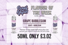 Sweet Vapes Flavour of the Week – Grape Bubblegum 50ml Only £3.02
