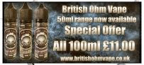 All british ohm vape 100ml only £11