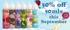 50% off DV 50ml short fills this September – only £7.98!