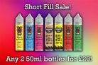Short Fill 'mix and match' – 100ml for £20 with FREE delivery – TABlites
