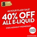 40% Off ALL E-Liquid at Ecigwizard